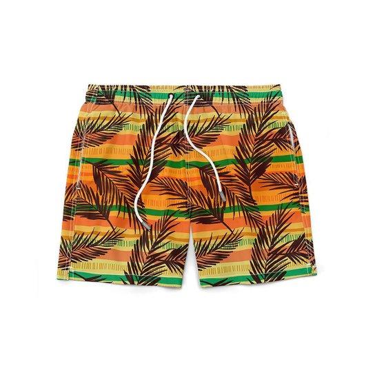 Short GIN TROPICAL Masculino Folhas Moda Praia - Laranja