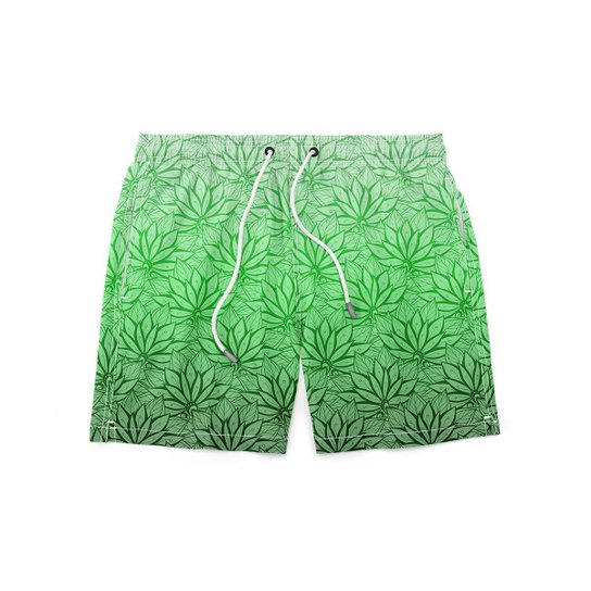 Short GIN TROPICAL Masculino Planta Moda Praia - Verde