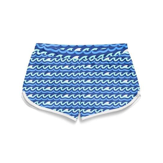 Short Gin Tropical Moda Praia Feminino - Azul