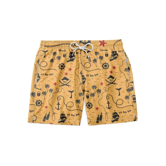 Short GIN TROPICAL Moda Praia Pirata Masculino - Amarelo