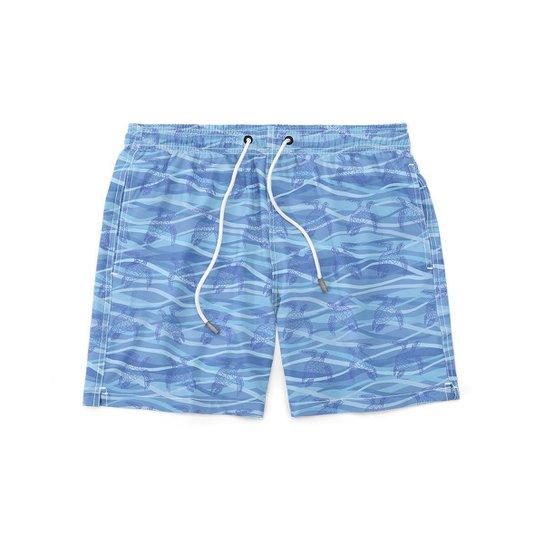 Short GIN TROPICAL Sea Turtle Masculino Moda Praia - Azul