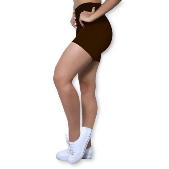 Short Heide Ribeiro Basic Fitness Feminino - Marrom