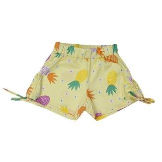 Short Infantil Menina Amarração Abacaxi Amarelo