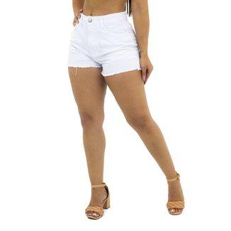 Short Jeans branco com Barra Desfiada Ecxo Jeans Feminino