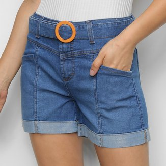 Short Jeans Cambos Cintura Alta + Cinto Feminino