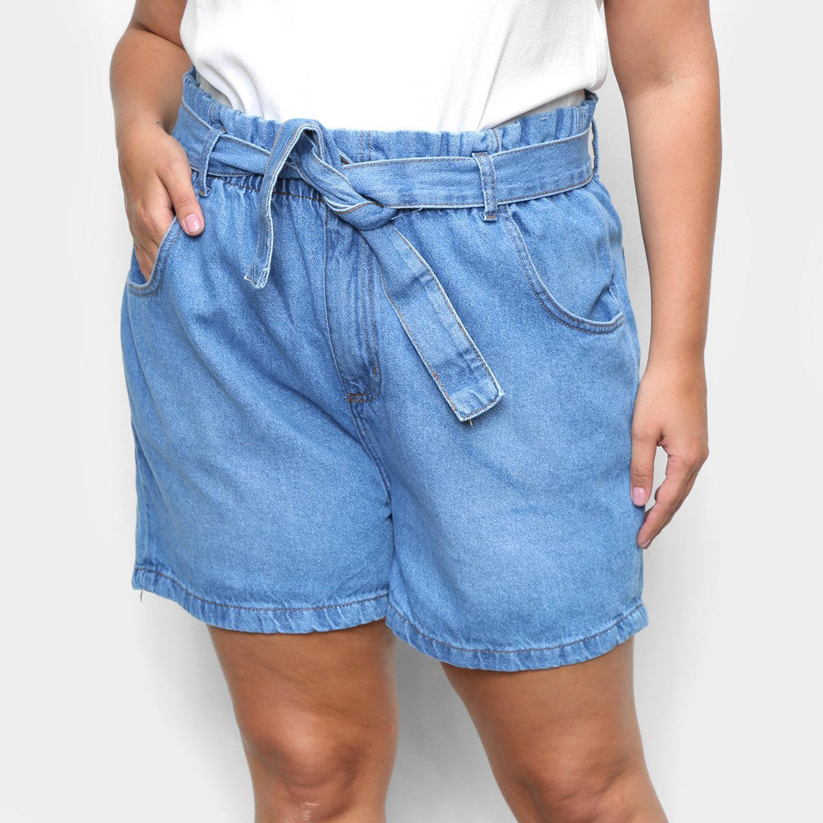Short Jeans Cambos Plus Size Clochard Feminino - Azul Claro