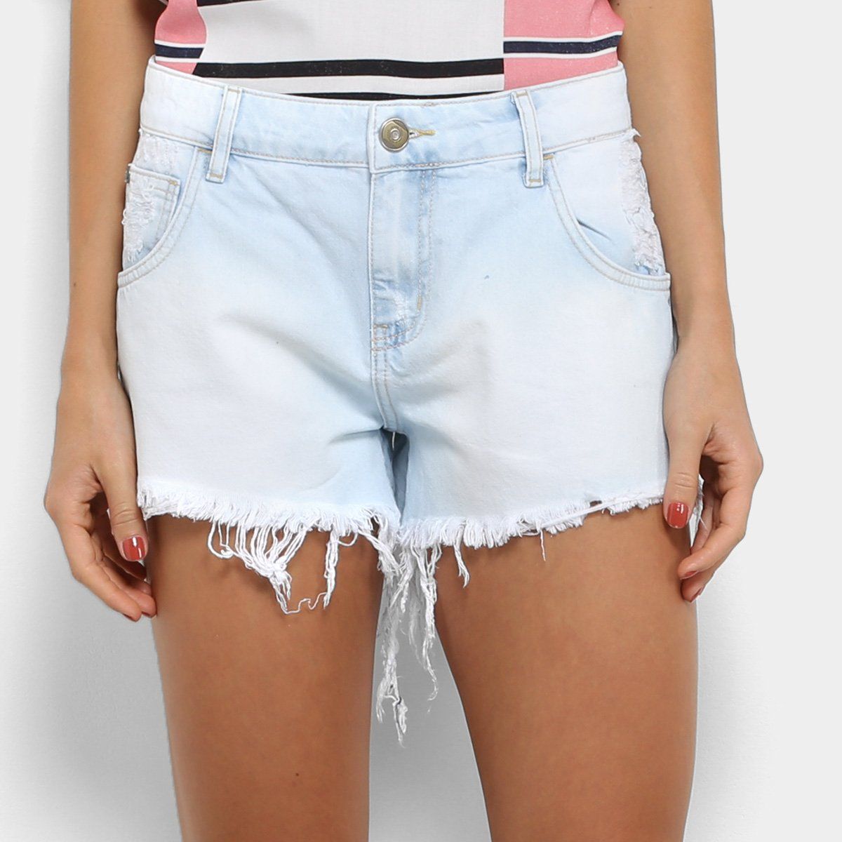 7c9908452 Short Jeans Coca-Cola Apache Destroyed Feminino - Azul Claro - Compre Agora  | Zattini