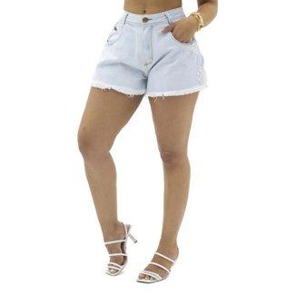 Short Jeans com Barra Desfiada Sal e Pimenta