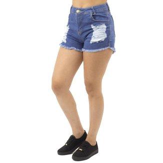 Short Jeans Destroyed Feminino Sal e Pimenta