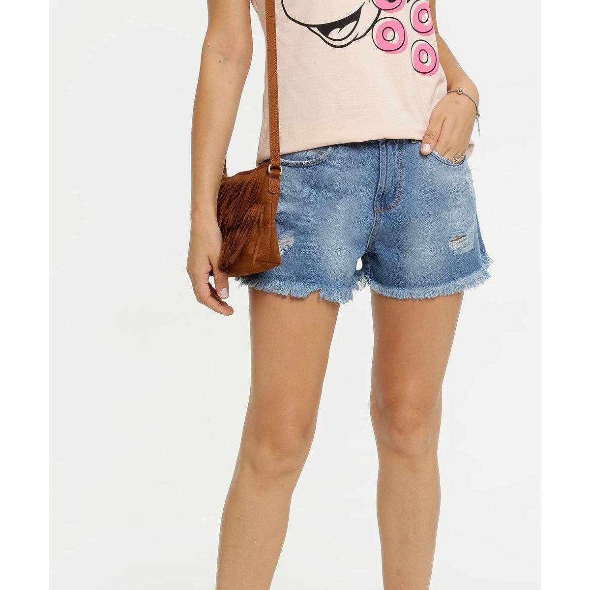 Short Jeans Destroyed Marisa - Feminino - Azul 9yY95las