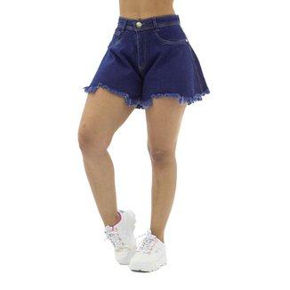 Short Jeans Godê com Barra Desfiada Sal e Pimenta