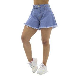 Short Jeans Godê com Cinto e Barra Desfiada Sal e Pimenta