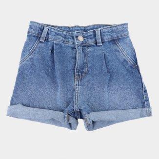 Short Jeans Infantil Hering Barra Dobrada Feminino