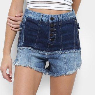 Short Jeans Open Barra Desfiada Cintura Alta Feminino