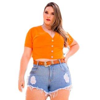 Short Jeans Plus Size Feminino Curto Barra Desfiada Cintura Alta Com Cinto