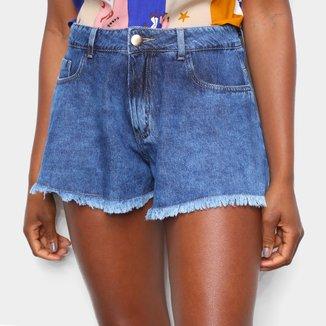 Short Jeans Sawary Godê Barra a Fio Feminino