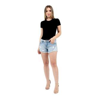 Short Jeans Upscale Recorte Feminino