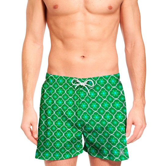 Short Jon Cotre Ornamental Bermuda Moda Praia Masculino - Verde