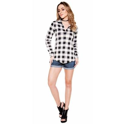 Short Knt Jeans Corrente Dourada Feminino-Feminino