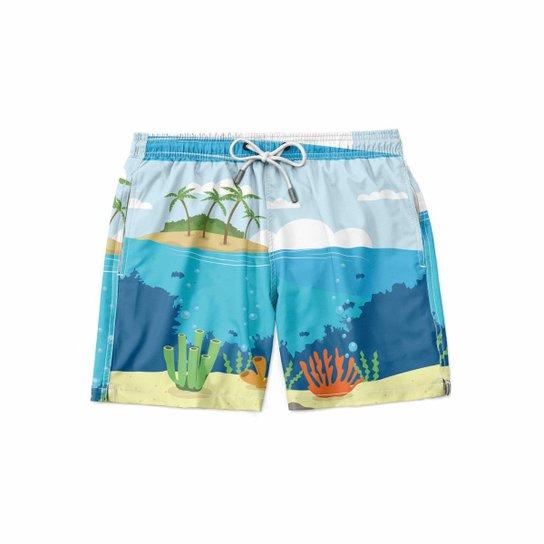 Short Maravs Moda Praia Island Masculino - Azul