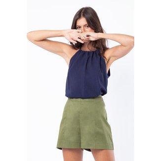 Short Mercatto Cintura Alta Tecido Liso Feminino