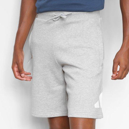 Short Moletom Adidas Logo Masculino - Cinza+Branco