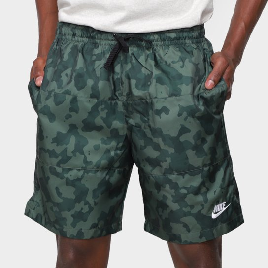 Short Nike Camuflado Masculino - Verde Militar+Branco