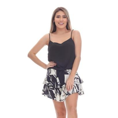 Short Saia Clara Arruda Babados Feminina-Feminino