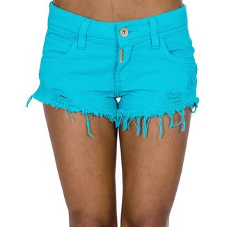 Short Sarja Destroyed Desfiado Color Block Colcci Feminino