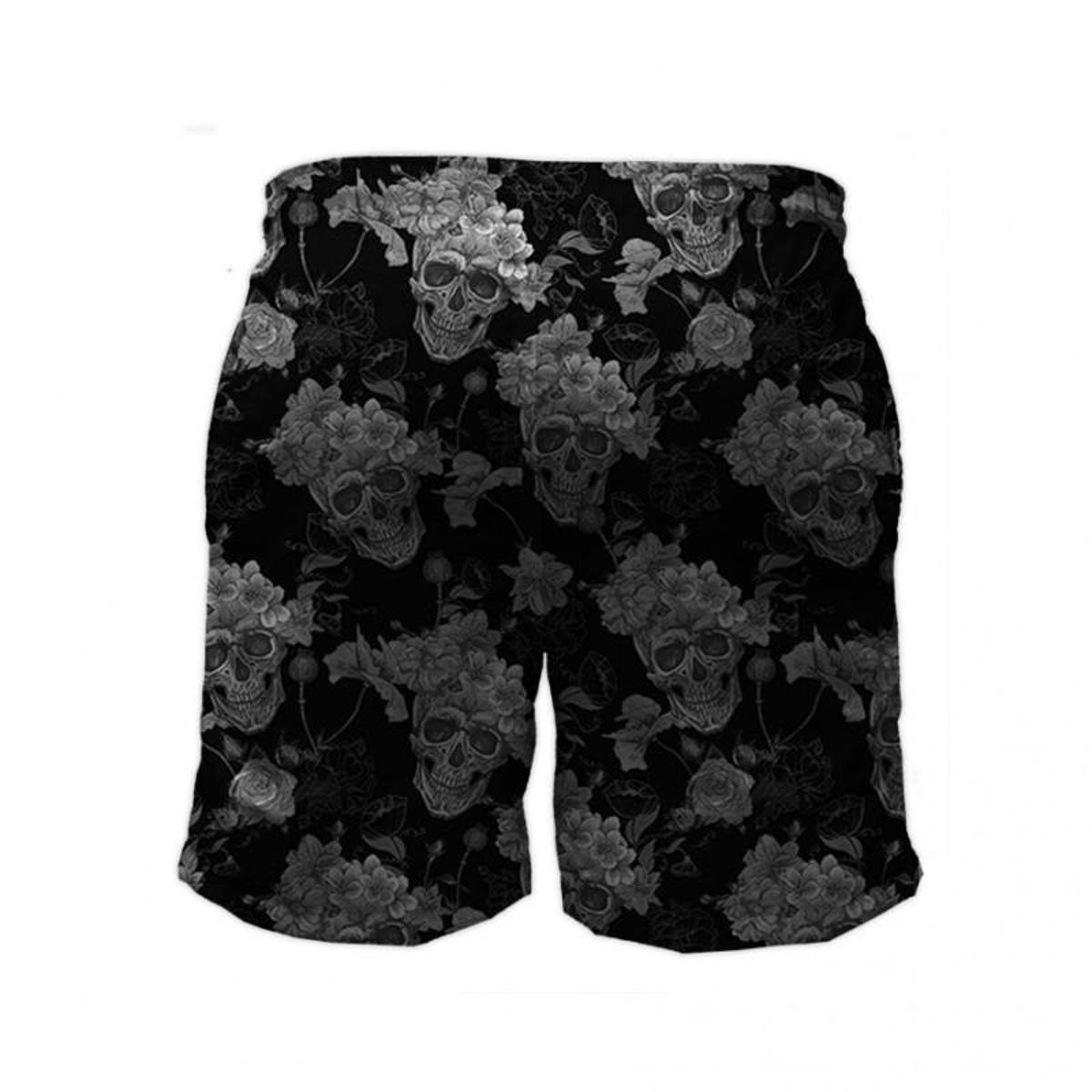 Short Tactel Maromba Fight Wear Skull Black Com Bolsos Masculino - Preto
