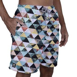 Short Tactel Masculino Bolsos Elástico Estampado Praia Verão