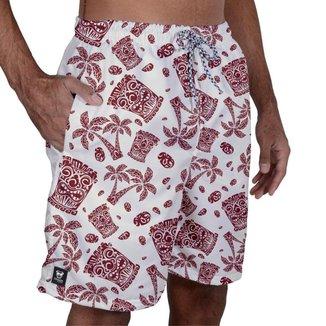 Short Tactel Masculino Bolsos Elástico Estampado Verão Praia