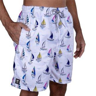 Short Tactel Masculino Estampado Bolsos Elástico Praia Verão