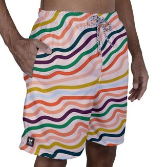 Short Tactel Masculino Estampado Bolsos Elástico Verão Praia