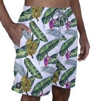 Short Tactel Masculino Estampado Elástico Bolsos Verão Praia