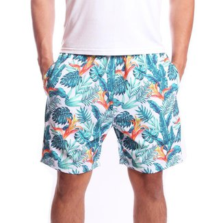 Short Tactel Ox Silver Floral Flores Masculino