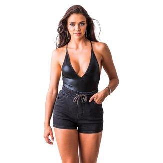 Short Zune Jeans Feminino Cordão Elástico Casual Dia a Dia