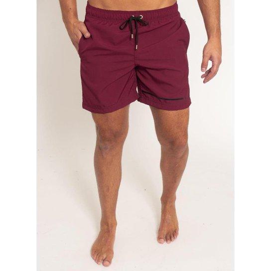 Shorts Aleatory Liso Stripe Masculino - Bordô