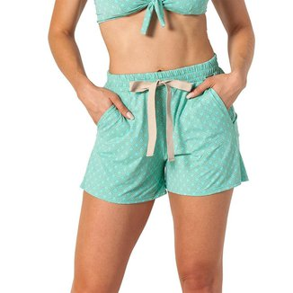 Shorts Boxer Feminino Elástico Laço Estampado Conforto Praia