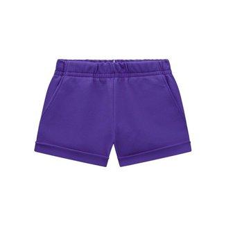 Shorts Brandili De Moletinho Com Cor Lisa Infantil