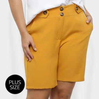 Shorts City Lady Alfaiataria Botões Plus Size Feminino