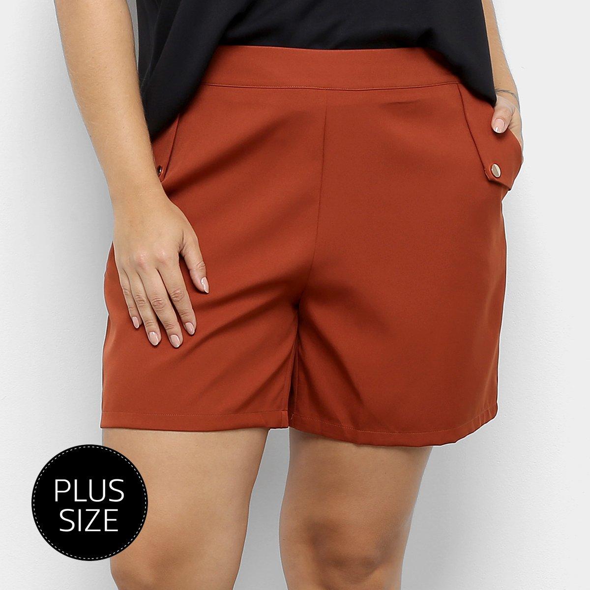 Shorts City Lady Plus size Alfaitaria Liso Feminino - Marrom