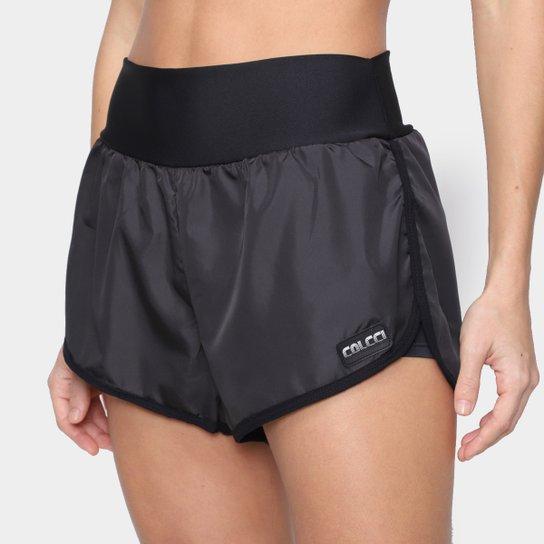 Shorts Colcci Fitnnes Logo Feminino - Preto