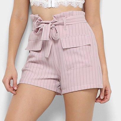 Shorts Colcci Hot Pants Listrado Bolsos Faixa Cintura Feminino