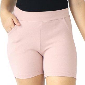 Shorts Crepe Feminino Liso Bolsos Elástico Cós Alto Verão