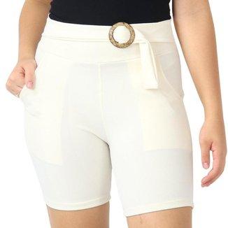 Shorts Crepe Feminino Liso Cinto Bolsos Elástico Cós Alto