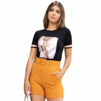 Shorts D Bell Alfaiataria com Cinto Feminino