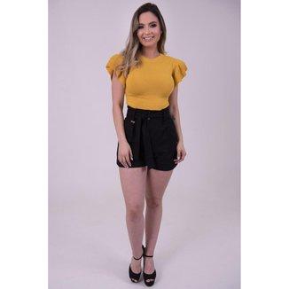Shorts de Linho com Cinto de Amarrar feminino