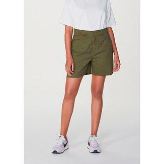 Shorts  Em Algodão Cintura Alta Em Sarja Feminino
