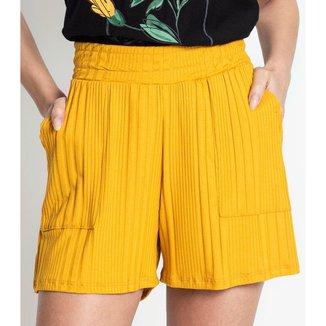Shorts Feminino Canelado Rovitex Amarelo P